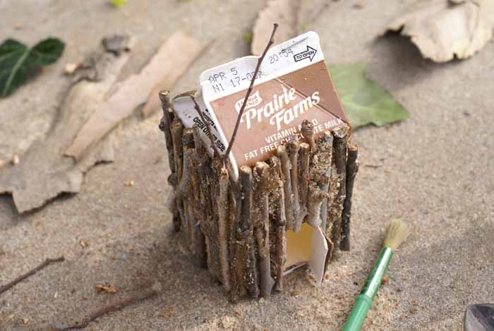 sticks glued to a dairy carton