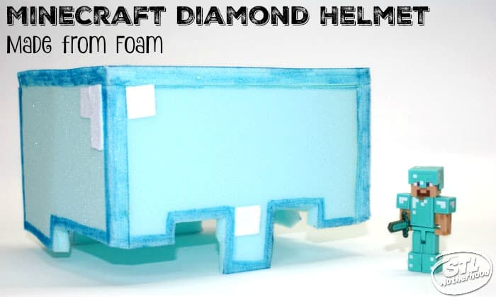 Minecraft helmet crafted from blue foam next to Minecraft Steve action figure.
