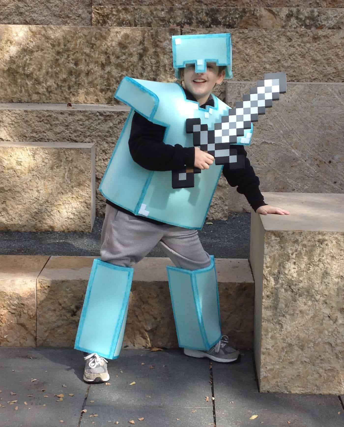 kid in full minecraft armor made from foam