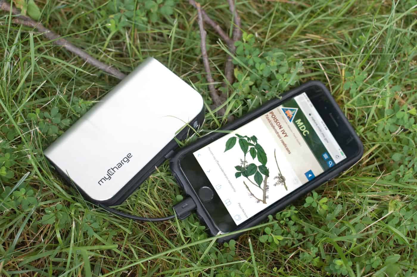 iphone on grass, plugged into a myCharge power bank