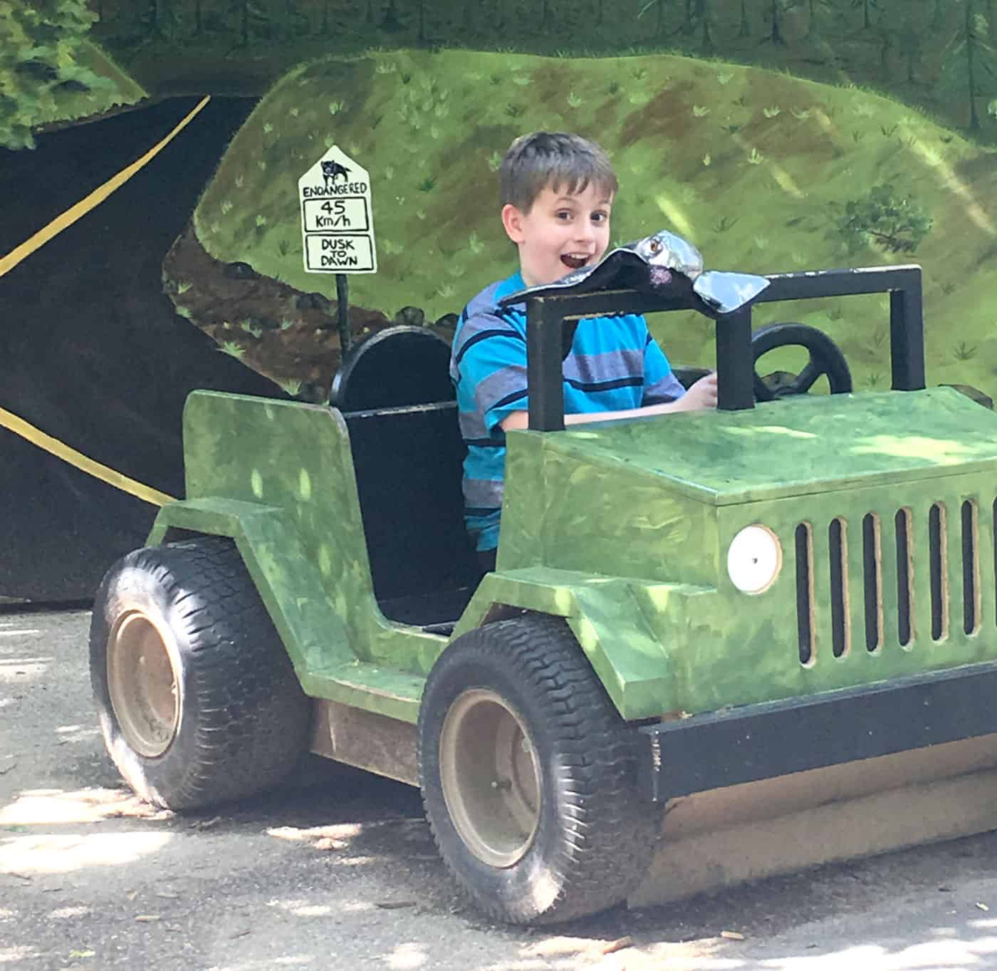 kid at the zoo in a play jeep