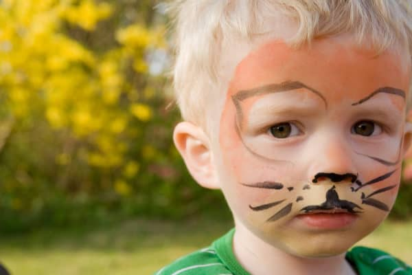 face paint on child. boy as tiger with make-up in garden