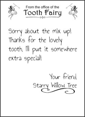 tiny letter from the tooth fairy to print out