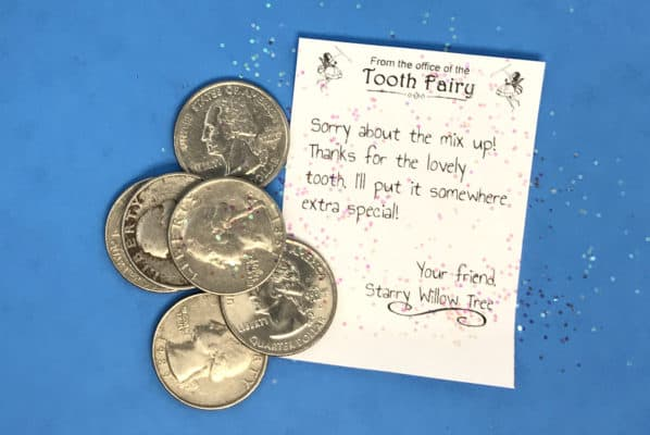 apology letter from the tooth fairy with glitter and quarters