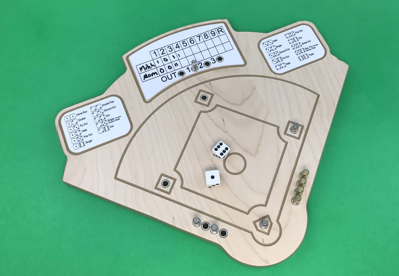 Across the Board baseball dice game with a wooden board