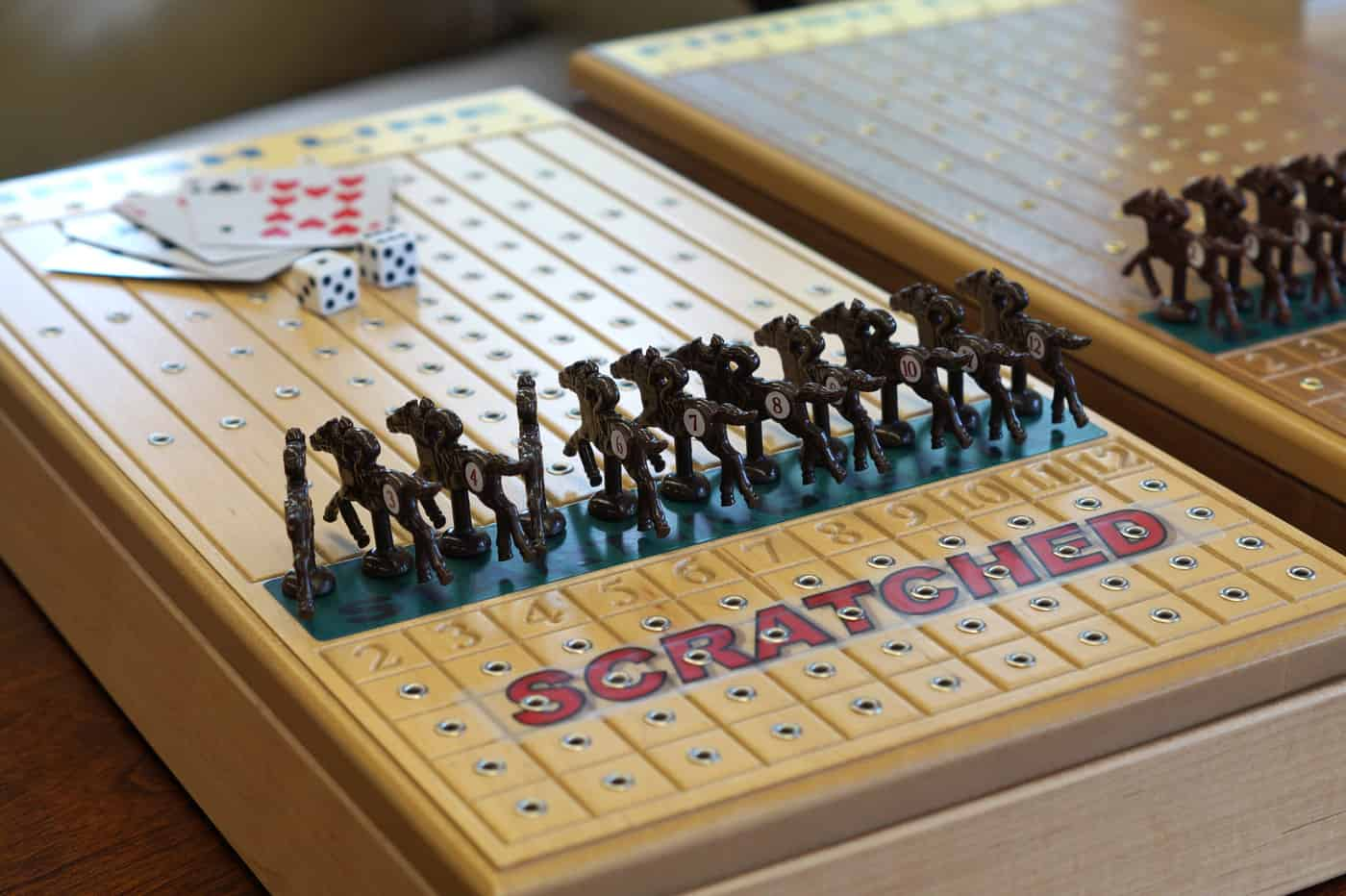 Across the Board wooden table top horse racing game