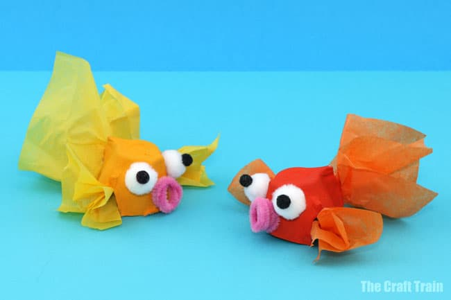 goldfish made with egg cartons and tissue paper