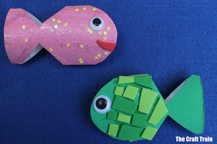 fish made with painted cardboard tubes