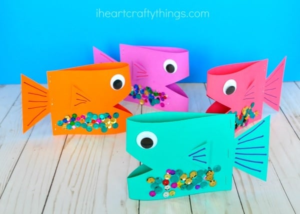 3D fish made with folded paper and sequins