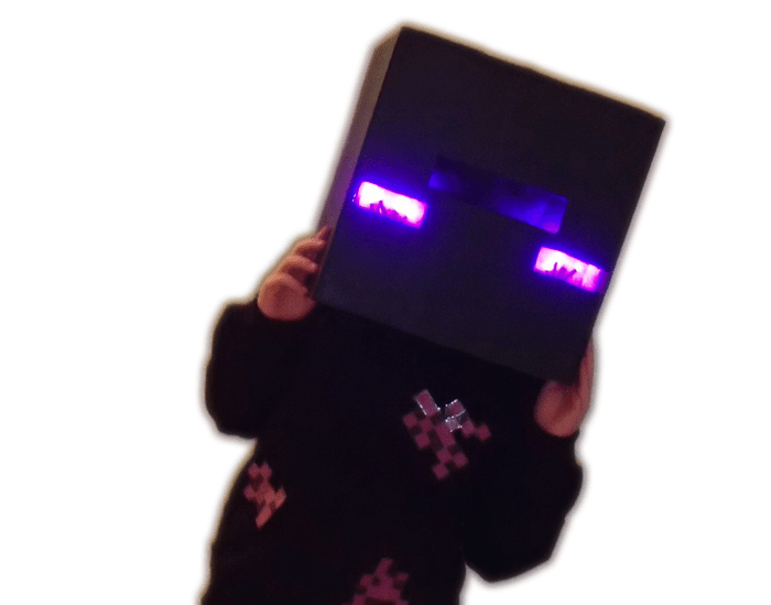 kid in Minecraft Enderman costume