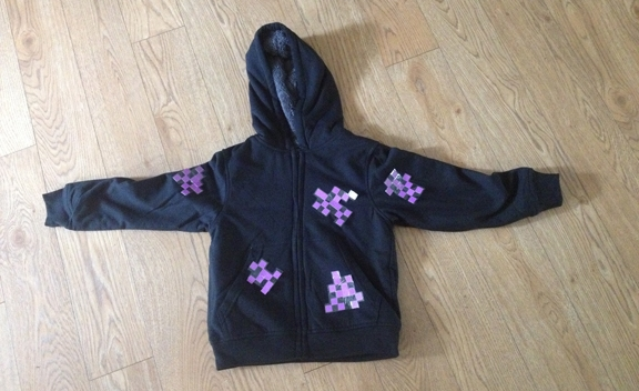 Enderman no sew costume has purple Minecraft pixels pinned to it.
