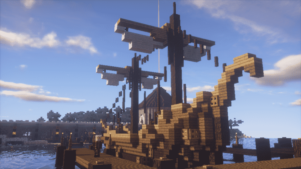 Wooden sailing ship built in Minecraft