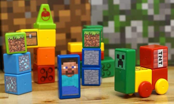 colorful building blocks with Minecraft stickers