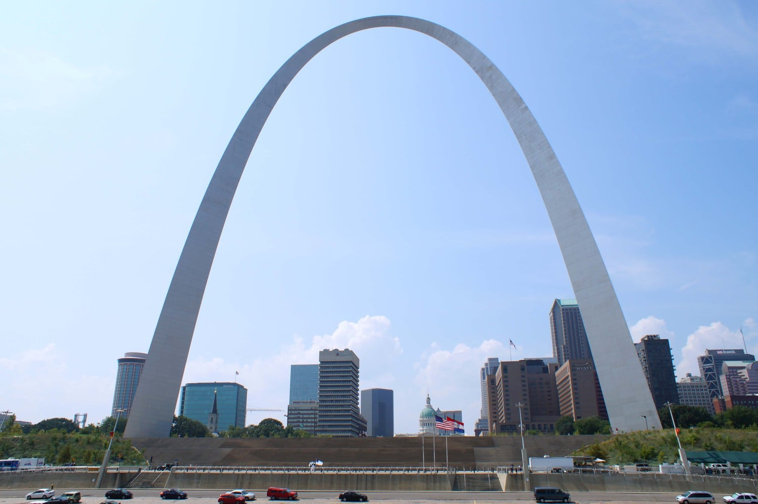 Gateway Arch as seen from a river boat