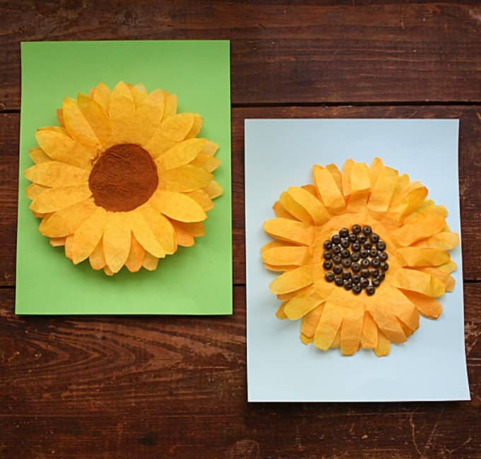 sunflowers made from orange colored coffee filters