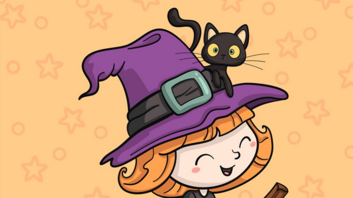 cute witch with cat coloring page
