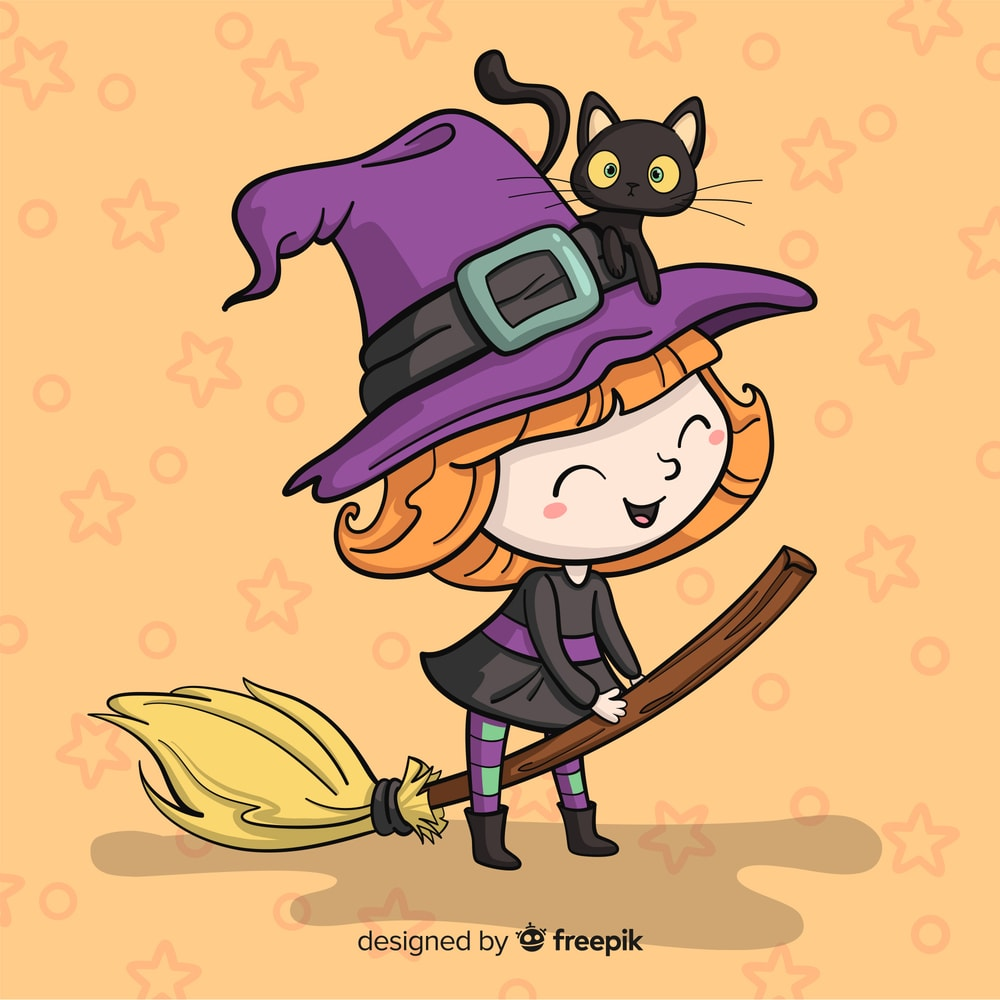 cute Halloween witch with purple hat, broom and black cat