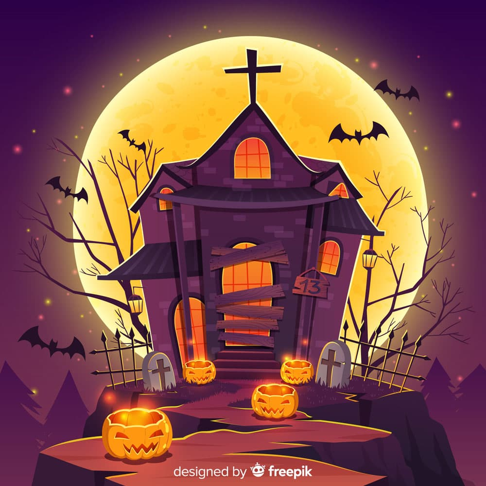 Haunted house with moon in the background coloring sheet
