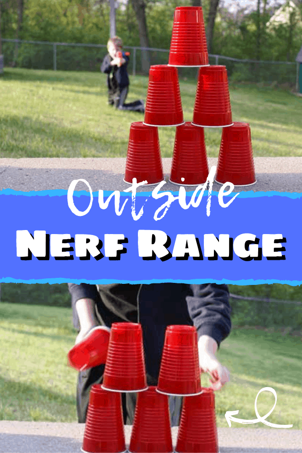 Tired of picking up Nerf darts from behind the furniture? Send the kids OUTSIDE and let them make their own target range! Great for those times you don't want an all out war, this target game is something the kids can set up all by themselves.  #nerf