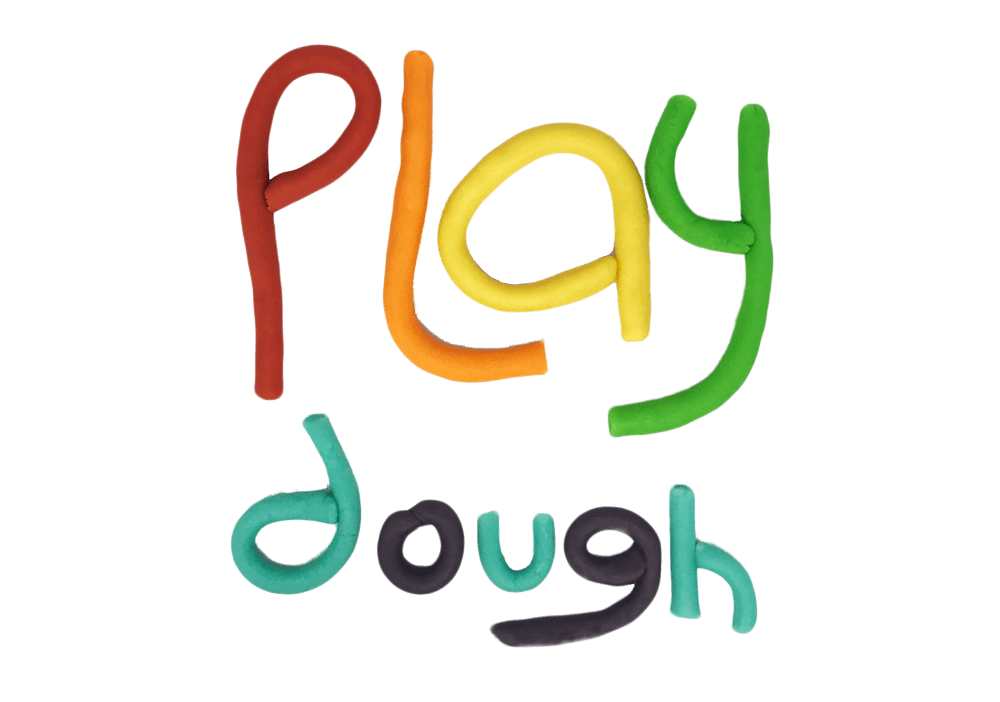 the words Play Dough spelled in rainbow colored home made play dough