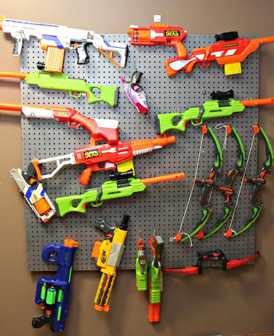 nerf guns on a wall