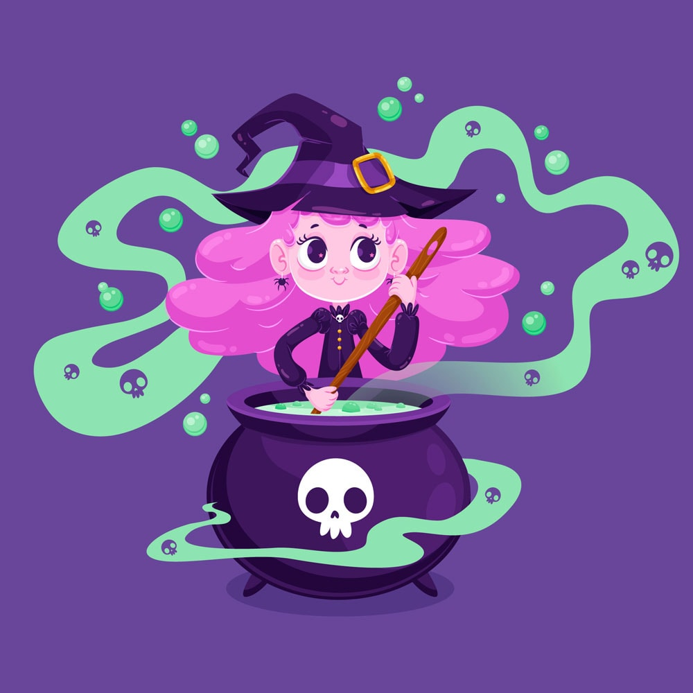Cute Halloween witch with caldron