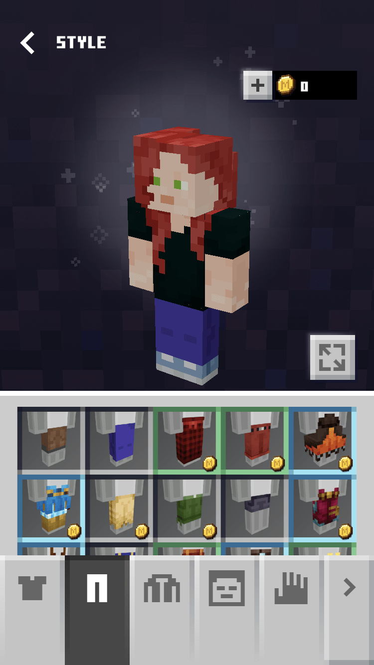 Minecraft Earth customization screen