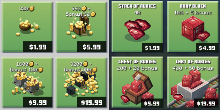 Minecraft Earth in game currency: Minecoins and Rubies