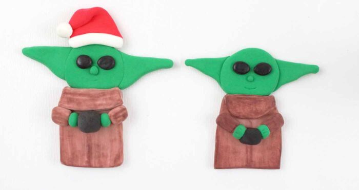 flat Baby Yoda made from air dry clay
