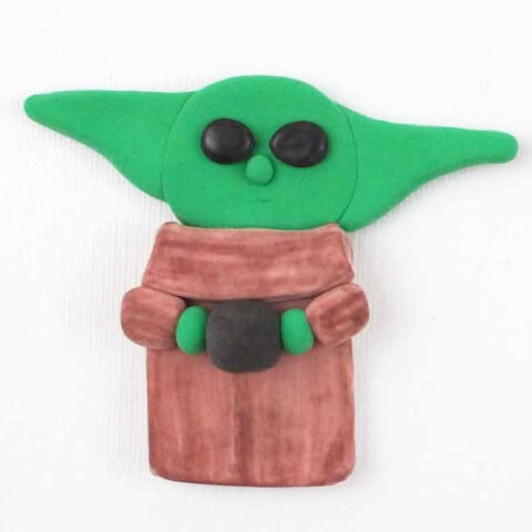 flat Baby Yoda figure made with air dry clay