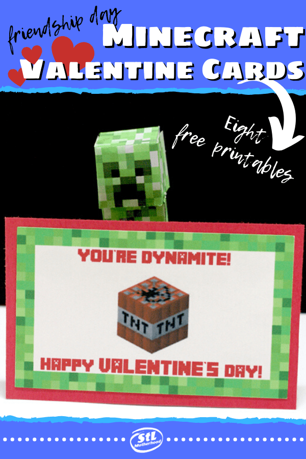Does your kid love Minecraft, but doesn't want to send out super mushy Valentine cards to the class? We got ya covered with these EIGHT free printables you can make at home. #Minecraft #Valentines