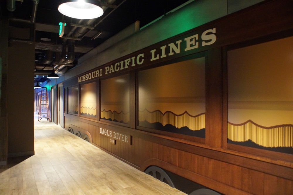 virtual train ride at the St. Louis Aquarium looks like an old Missouri Pacific passenger car