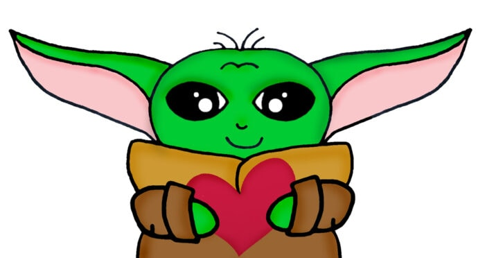baby yoda holding a heart for Valentine's day
