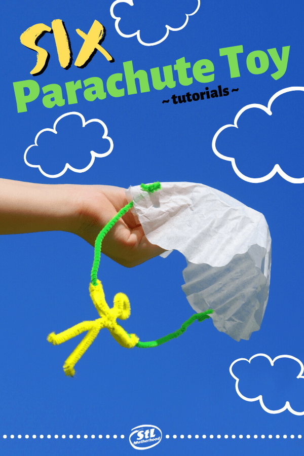 We love to throw homemade parachute toys off the balcony, treehouse and playground towers! Here's SIX fantastic designs to make your own. #diytoy #kidcraft