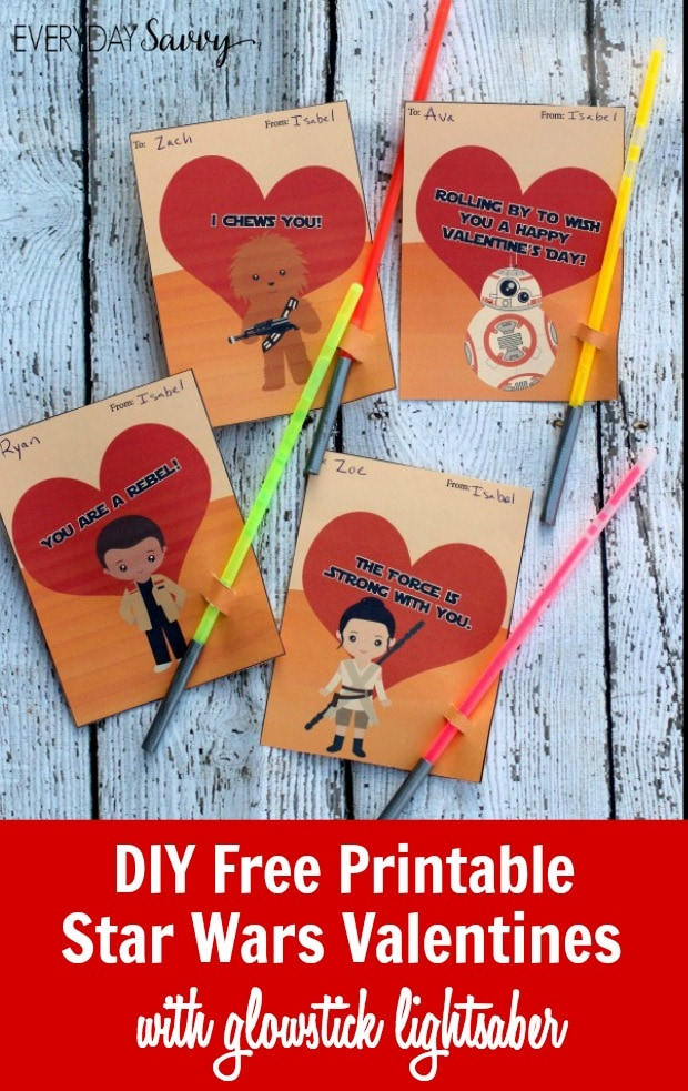 DIY Printable Star Wars Valentines Cards with Glowstick Lightsabers