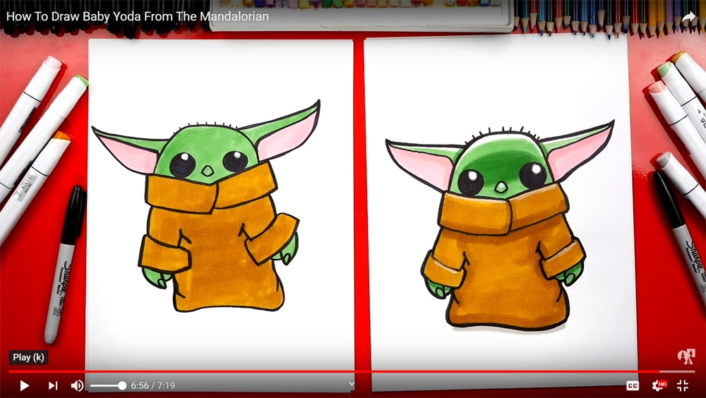 screen shot of how to draw baby yoda tutorial on youtube