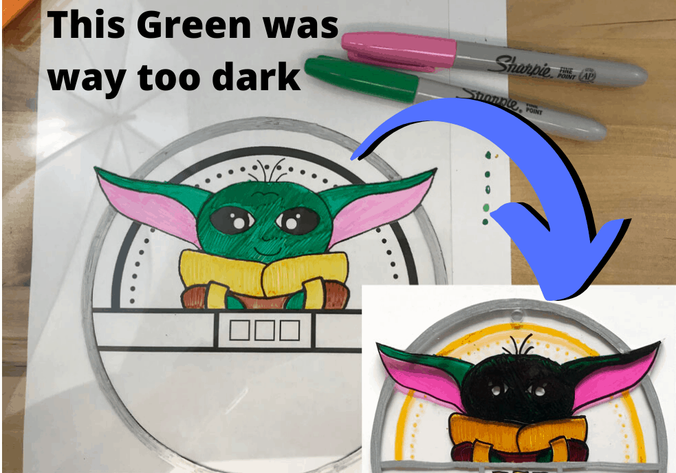shrinky dink color fail -- green turned too