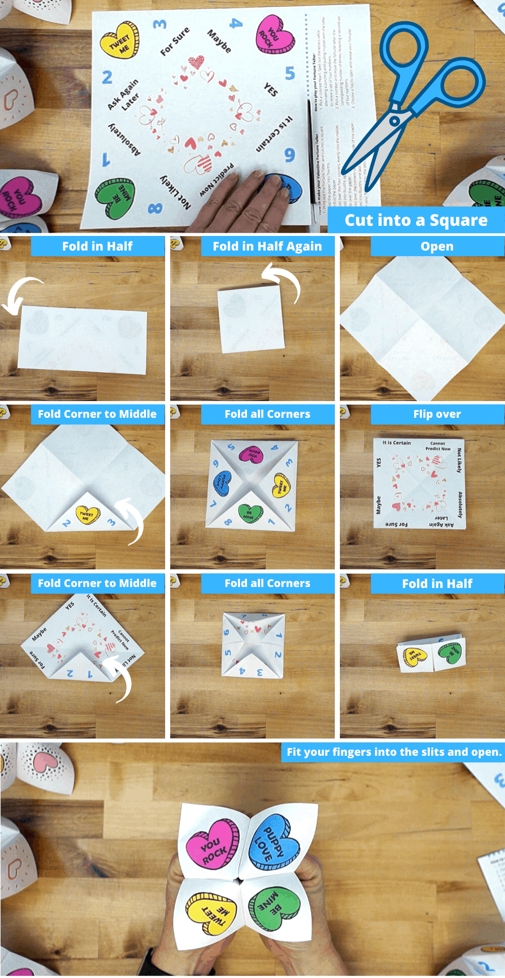 step by step visual guide to folding a paper fortune teller