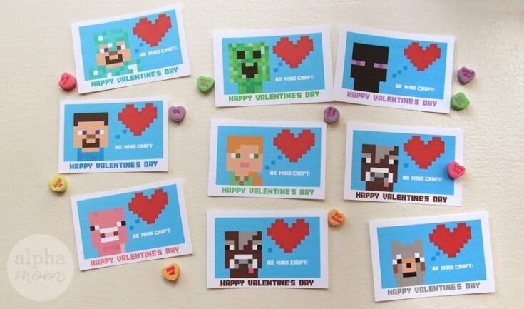 Minecraft Valentine's Day Cards for Classmates