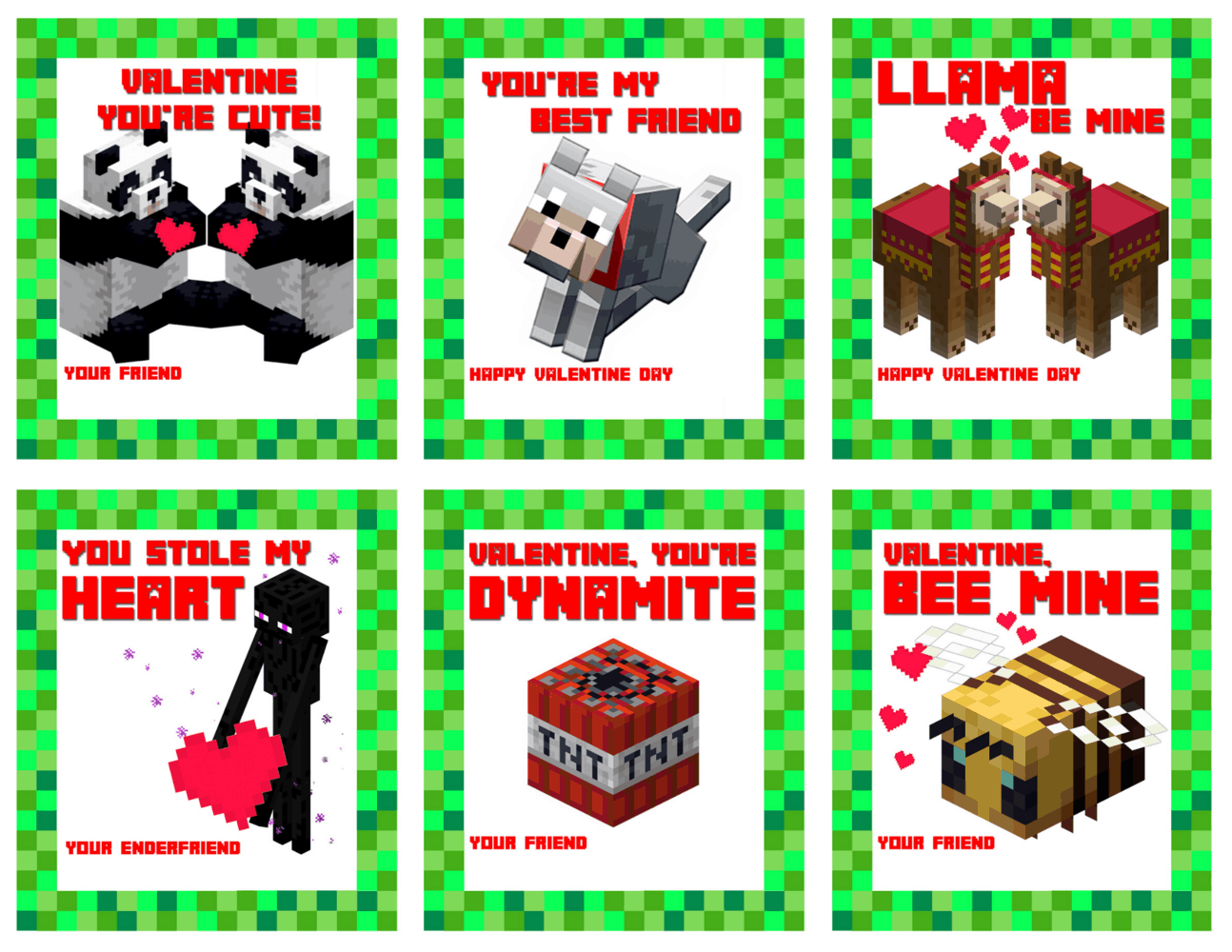 It is a photo of Minecraft Printable Valentines for full page