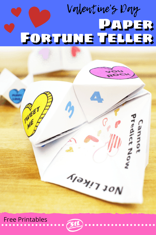 make a special Valentine's Day paper fortune teller to hand out as party favors or give with school party friendship cards. Three designs: Magic 8 Ball, Conversation Hearts and fill in the blank