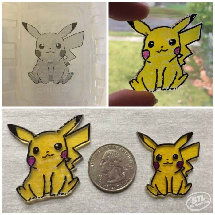 sample of Pikachu made with both recycle diy shrinky dink plastic and real store bought material