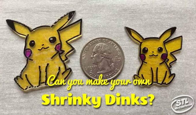 2 shrinky dink pokemon sitting next to a quarter