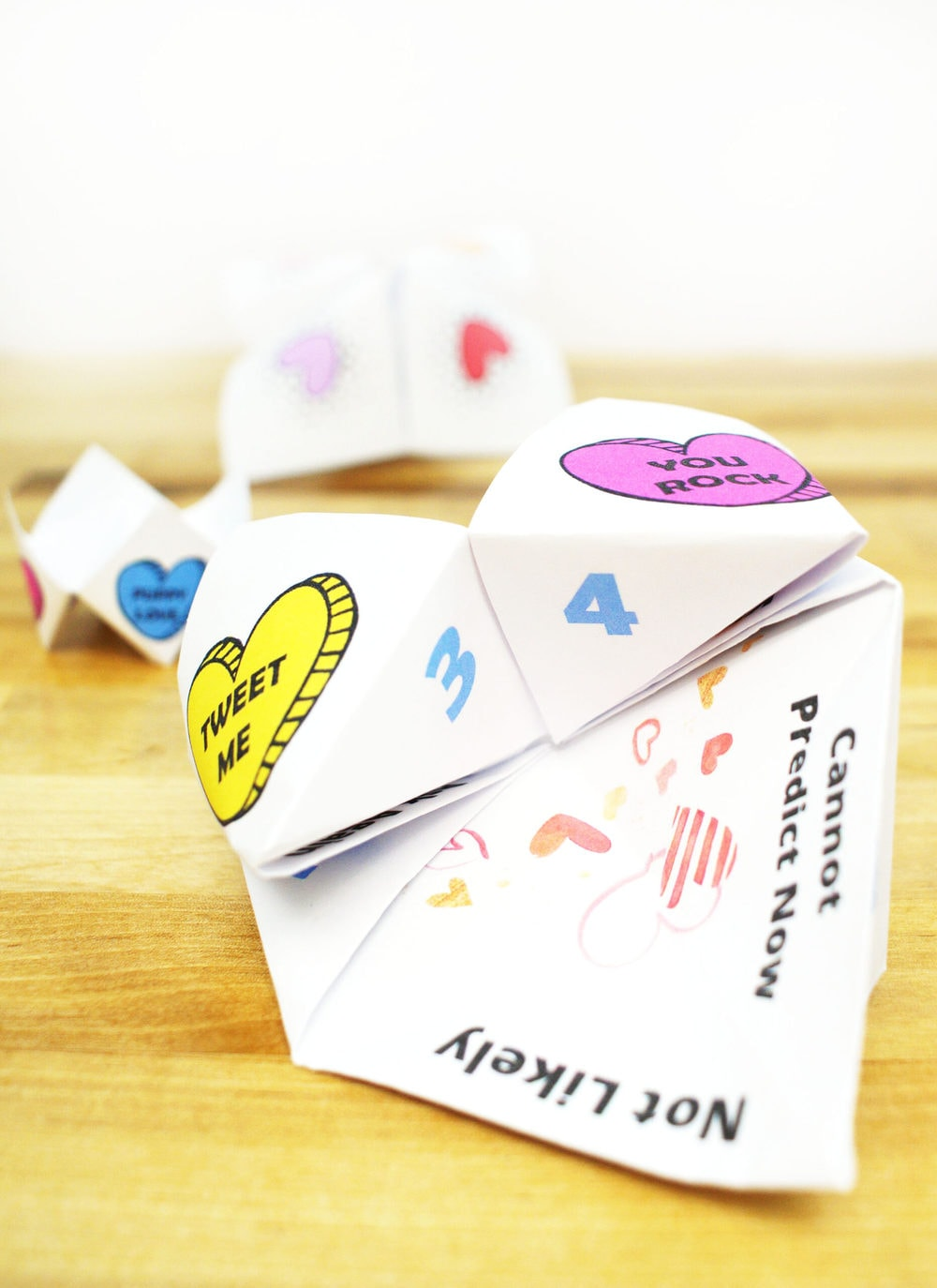 paper fortune teller with hearts for Valentine's day