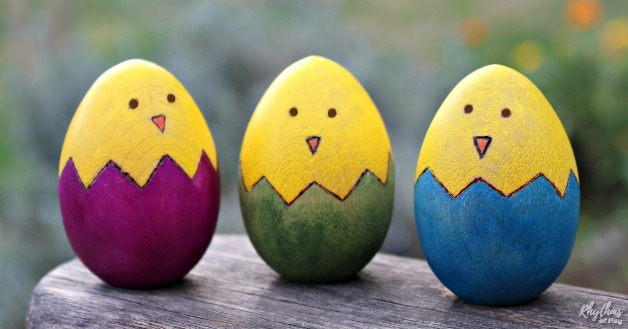 Cute Easter Chick Wooden Egg