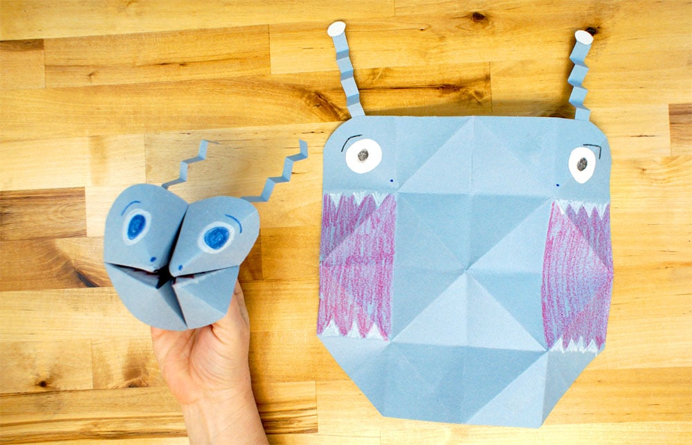 paper cootie catcher puppet shown folded and unfolded