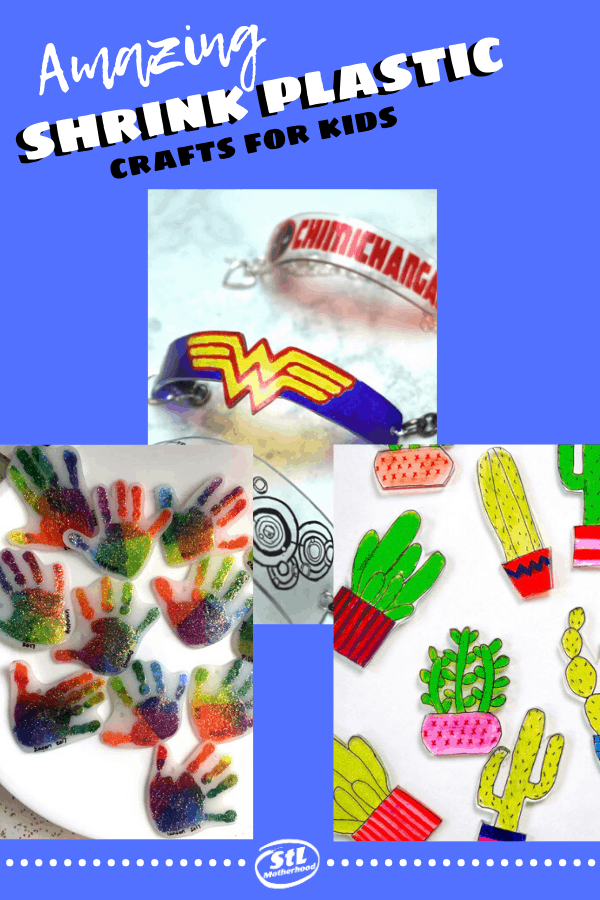 Ten crafts using Shrinky Dinks shrinkable plastic for kids. Make charms, bracelets, backpack tags, bookmarks and more