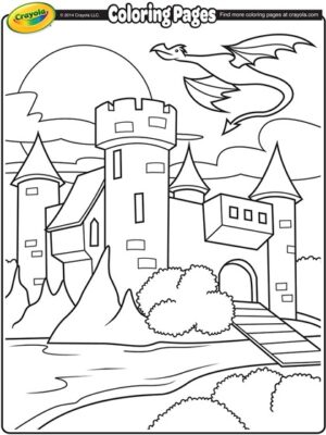 dragon flying around castle