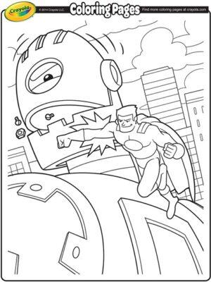 hero punching giant robot