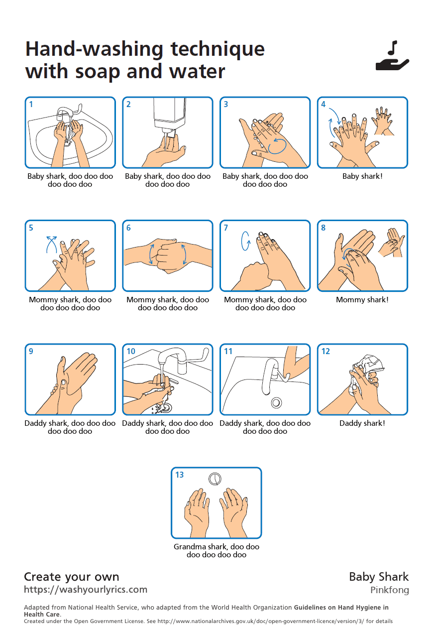 hand washing lyrics for Baby Shark